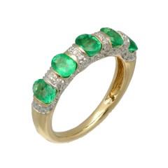 14Krt. gouden Briljant 0.30Ct. & Smaragd ring
