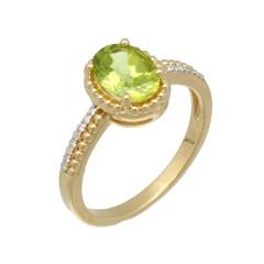 14Krt. gouden ring gezet met Peridot & Diamant