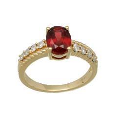 14Krt. gouden ring gezet met Granaat & Diamant