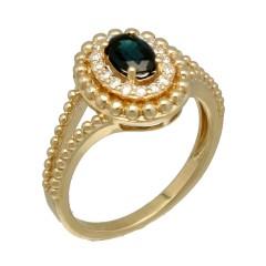 14Krt. gouden Entourage ring gezet met Briljant & Saffier