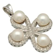 18 Krt witgouden kruis met parels en briljanten.