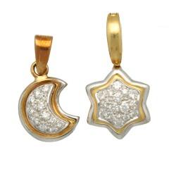 18 Krt. gouden briljant hanger maan of ster.