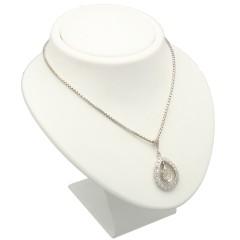 14Krt witgoud collier ''Peervormige'' diamant 1.5Ct.
