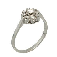 14 Krt Witgouden rozet ring met Briljant ca. 0.35 Ct