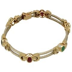 14 Krt Bi-Color armband met kleurstenen