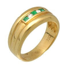 18Krt. gouden ring Smaragd 0.15 & Briljant 0.07Ct.