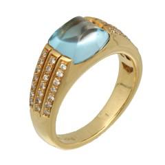 18Krt. gouden ring met Aquamarijn & Briljant 0.42Ct.