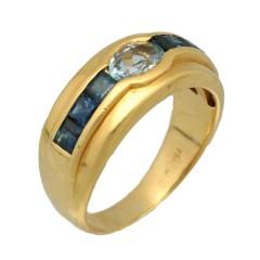 18Krt. gouden ring met Saffier & Aquamarijn