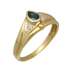 14Krt. gouden ring gezet met Blauwe saffier 7 Briljant