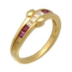 18Krt. gouden ring met Robijn & Diamant