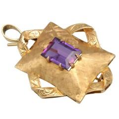 18Krt. goud Handgemaakte Broche/Hanger bezet met Amethist