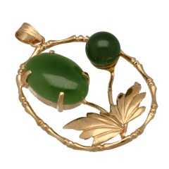 14 Krt gouden hanger met Jade
