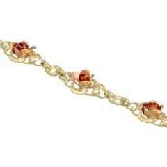 14 krt Vintage gouden armband met Rozen .