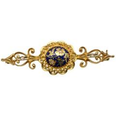 Handgemaakt 18 krt gouden broche met Emaille en Diamant.