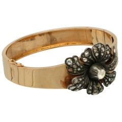 14 Krt Antiek gouden armband oud slijpsel diamant.