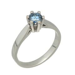 18Krt. witgouden Solitaire ring met blauwe diamant 0.50Ct.