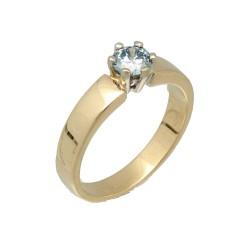 14Krt. gouden Solitaire ring met Blauwe Diamant 0.47Ct.