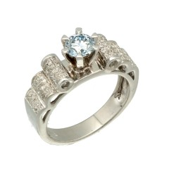 14Krt. witgouden ring met Briljant en Blauwe diamant 0.91Ct.