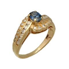 14 krt gouden ring bezet met Diamant en Blauwe saffier.