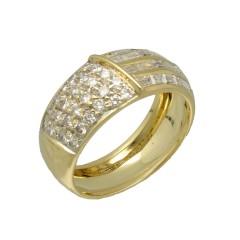 18 krt gouden ring bezet met Briljant en Baguette ca. 1 Ct.