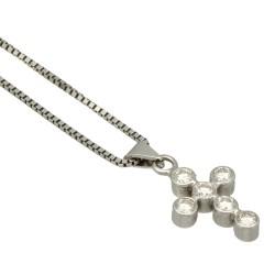 14 krt witgouden collier met diamanten kruisje.