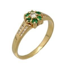 18 krt rozet ring met diamant en smaragd.