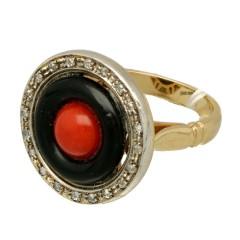 14 krt gouden ring met Koraal-Onix en Diamant.
