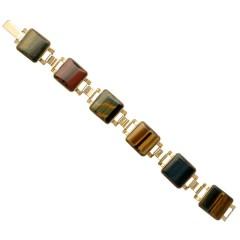 9 krt Vintage armband bezet met diverse tijgeroog stenen